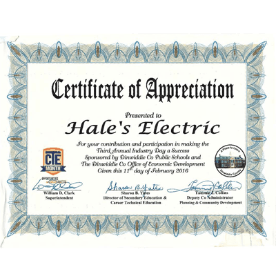 2016 Spring Industry Day Certificate