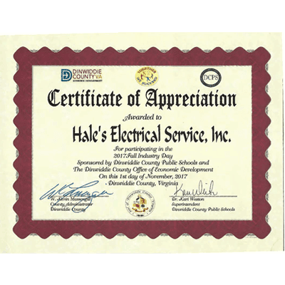 2017 Fall Industry Day Certificate