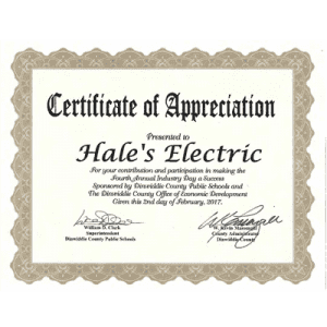 2017 Spring Industry Day Certificate