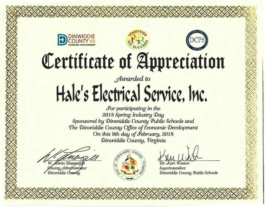 2018 Spring Industry Day Certificate