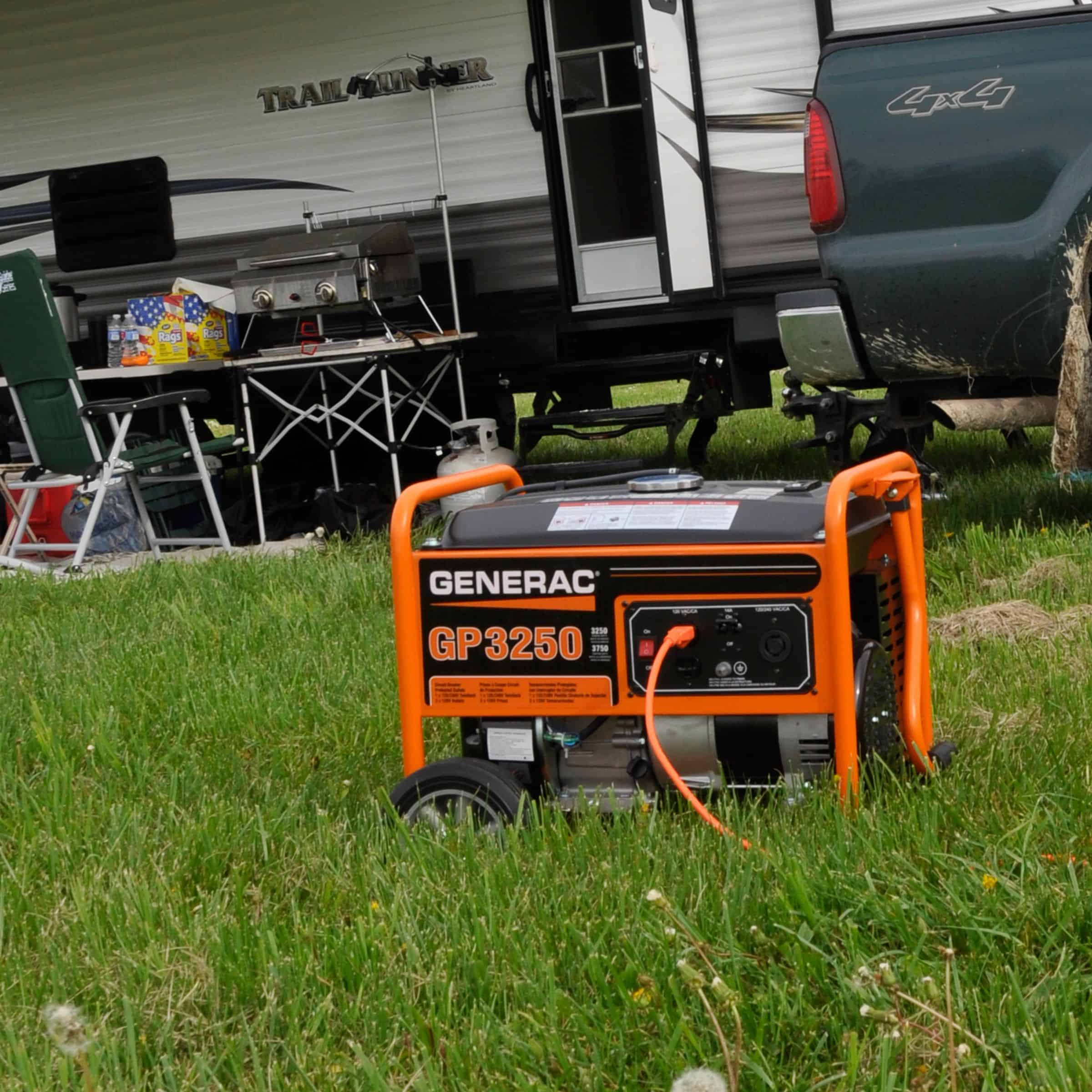 GP 3250 Watt Portable Generator in front of RV