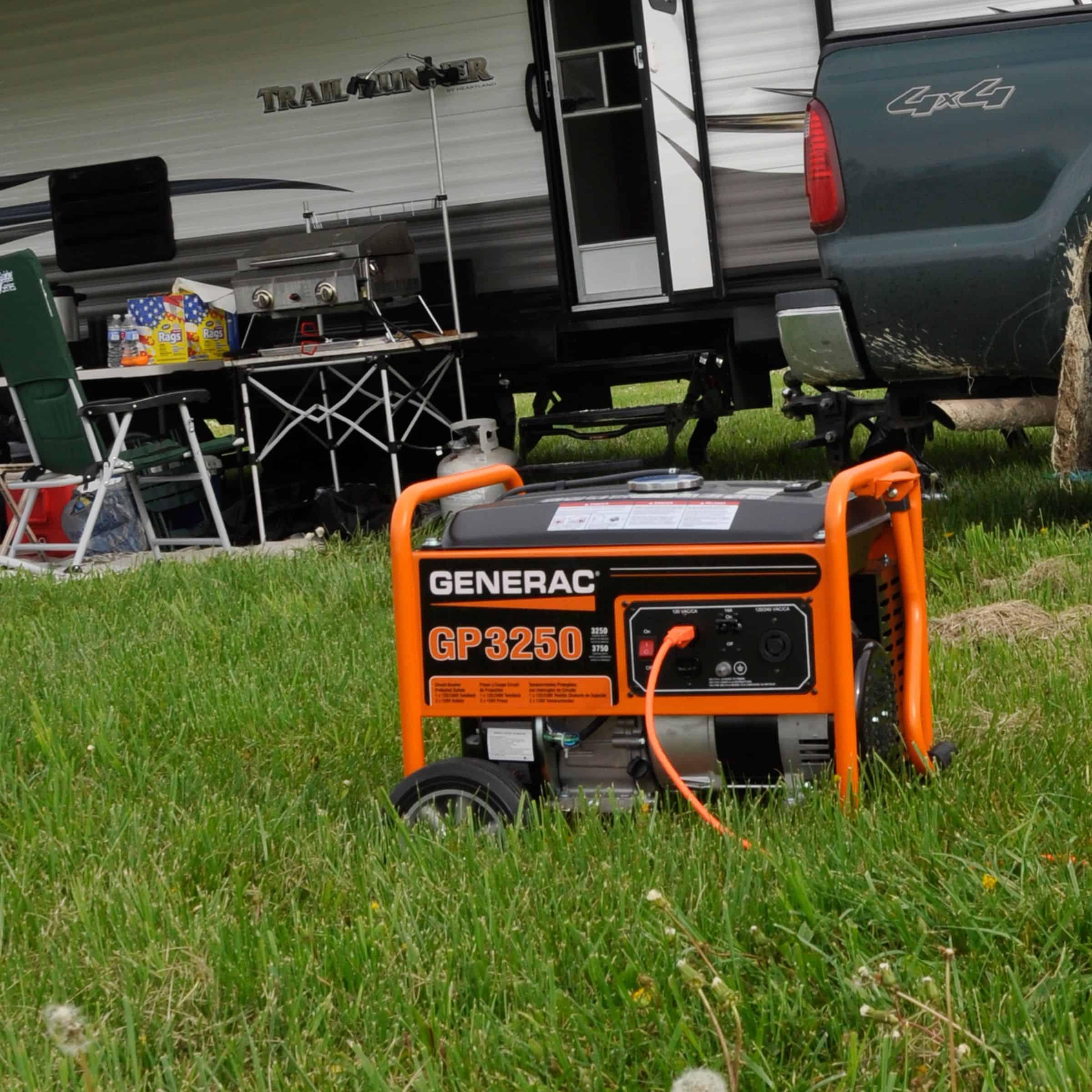 GP 3250 Watt Portable Generator in front of RV