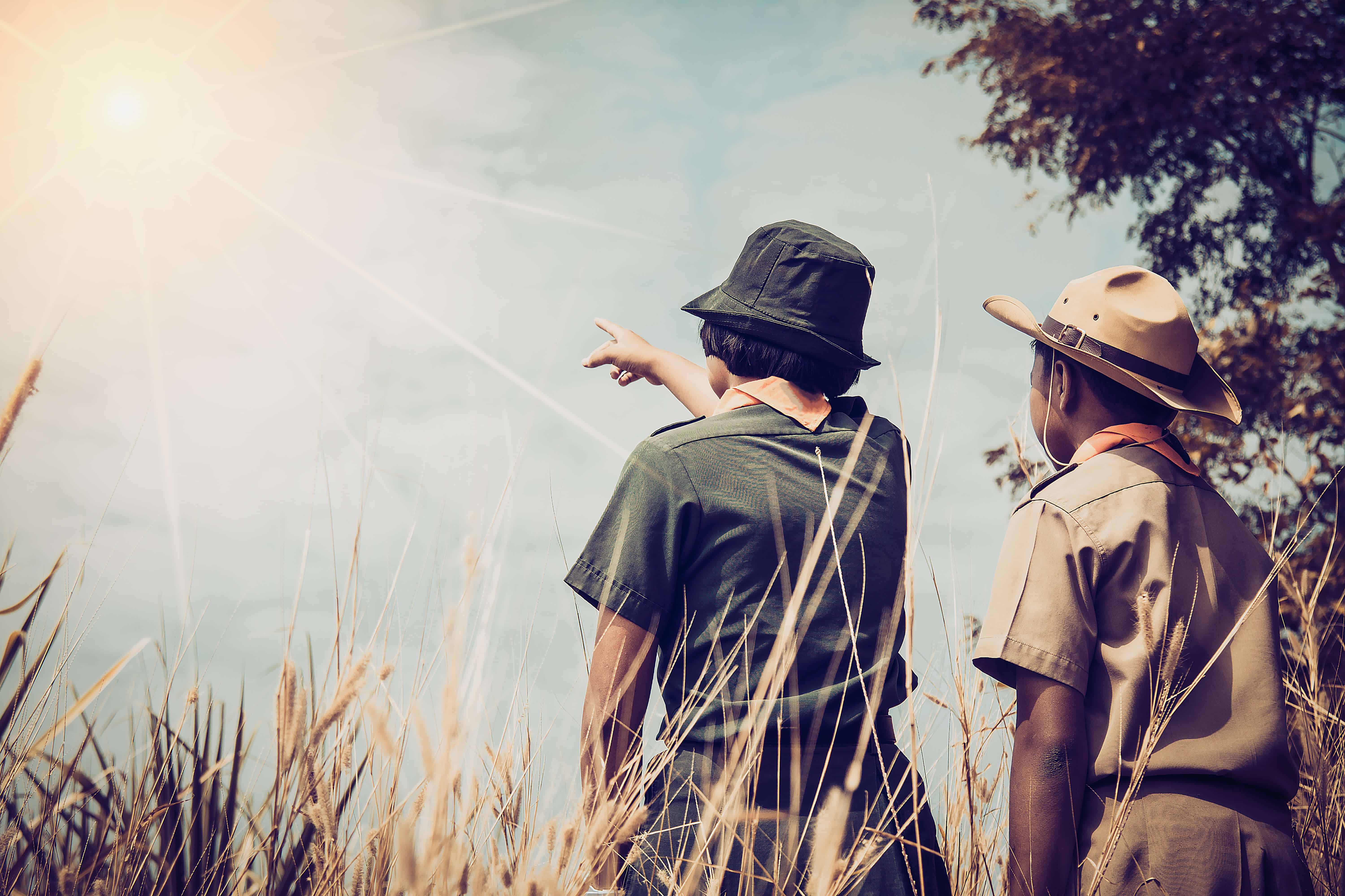Scouts Pointing at Sky