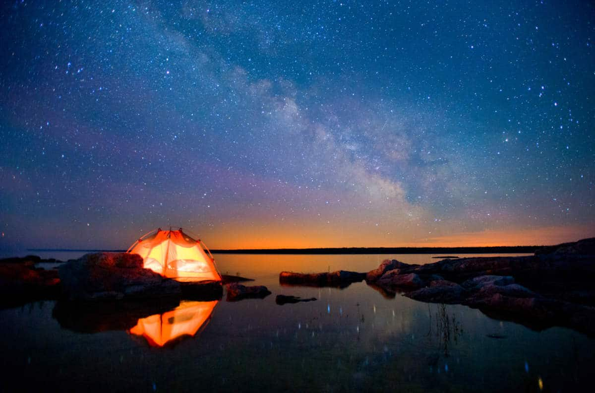 Camping by Water Under Starry Sky