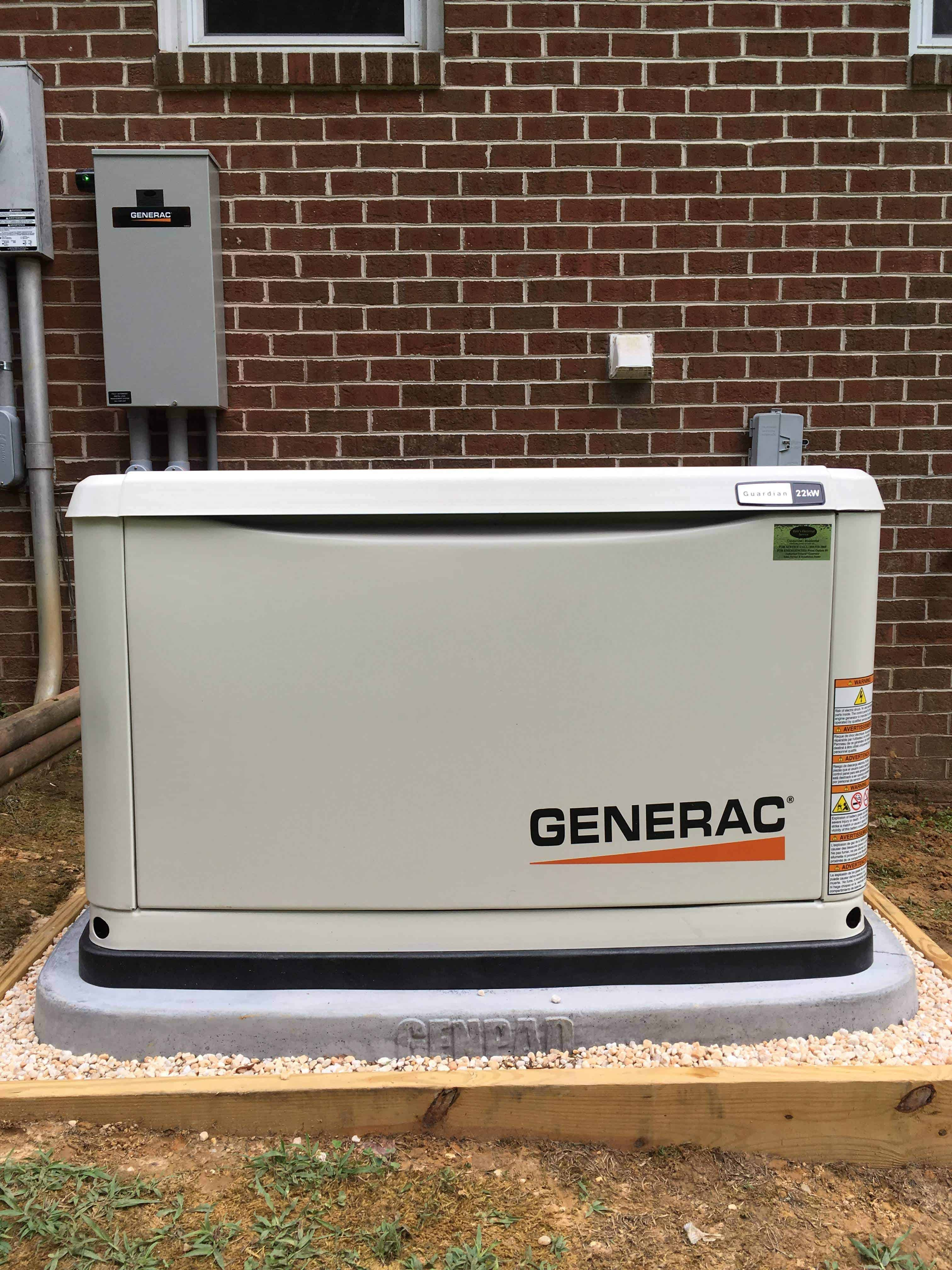 Generac Automatic Standby Generator with Automatic Transfer Switch in Background