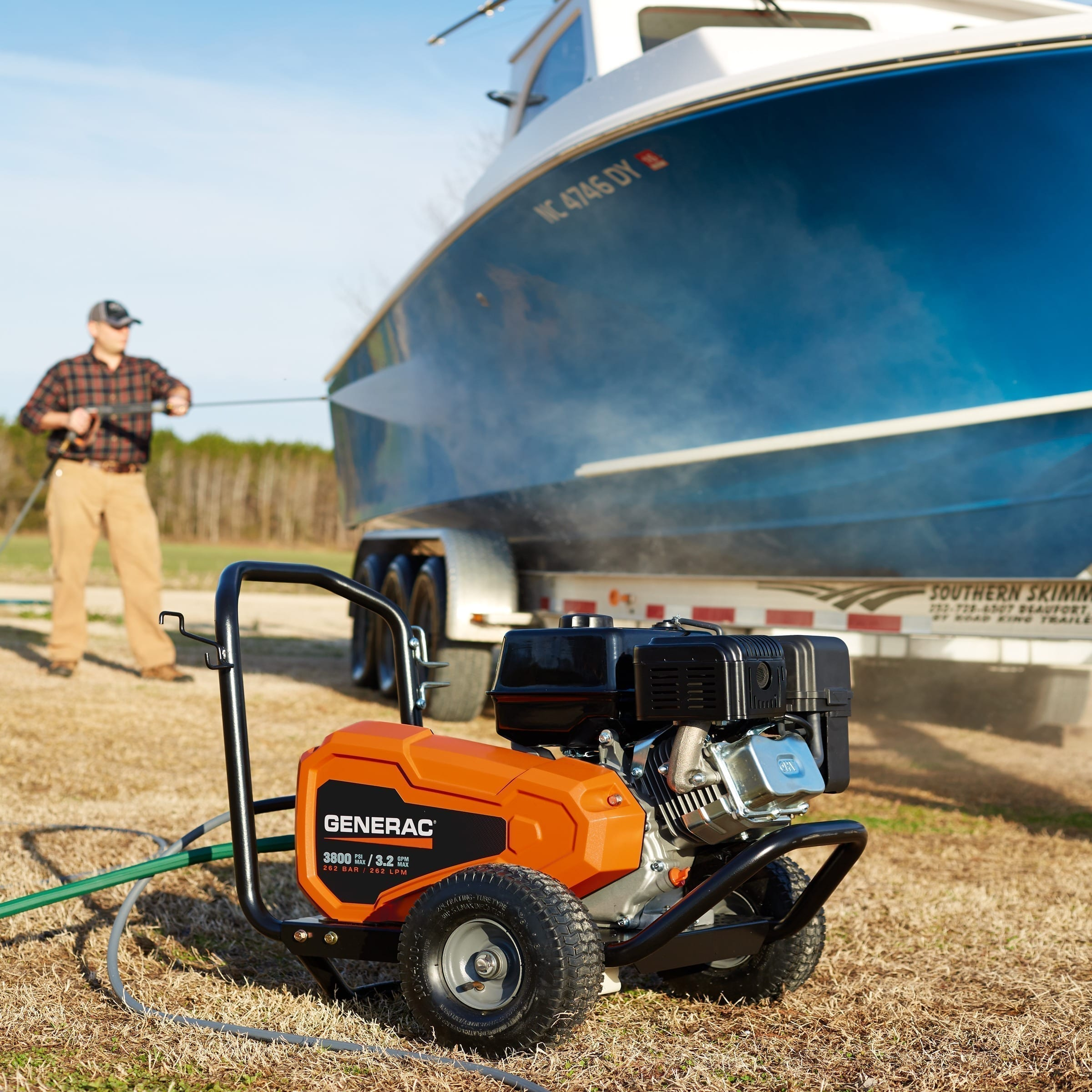 Generac 3800PSI Belt Driven Power Washer on Boat