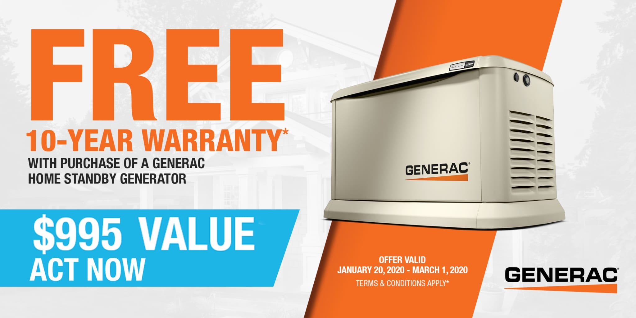 Winter 2020 Generac FREE 10 YEAR EXTENDED WARRANTY Special Offer from Hale's Electrical Service